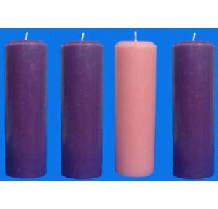 Vela Coroa do Advento - 3 roxas e 1 rosa - 22x5cm - kit com 4 velas