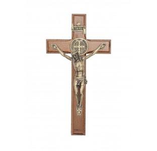Crucifixo em madeira de parede com medalha de São Bento - 12cm - ouro velho