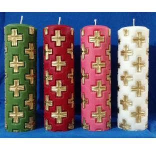 Vela Coroa do Advento - 4 cores litúrgicas Bizantina cruz entalhadas a mão - 22x7cm - kit com 4 velas