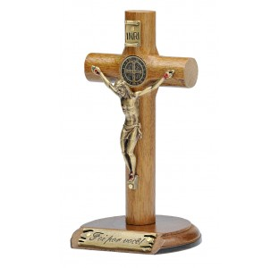 Crucifixo em madeira de mesa ou parede com medalha de São Bento cruz cilíndrica - 14cm - Ouro velho