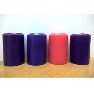 Vela Coroa do Advento - 3 roxa e 1 rosa - 10x7cm - kit com 4 velas