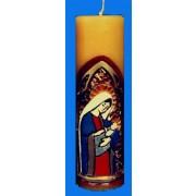 Vela entalhada para altar - 22x7cm - Maria Mãe - 11206