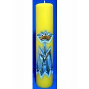 Vela entalhada M de Maria para altar - 30x7cm - Mariana Amarela