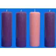 Vela Coroa do Advento - 3 roxas e 1 rosa - 22x5cm - kit com 4 velas
