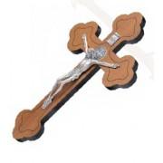 Crucifixo em madeira de parede com medalha de São Bento - 19cm -  prata velha