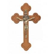 Crucifixo em madeira de parede com medalha de São Bento - 19cm - ouro velho