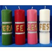 Vela Coroa do Advento - 4 cores litúrgicas Catequética entalhadas a mão - 22x7cm - kit com 4 velas