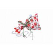 Terço pérola branca 6MM c/flor e saquinho vermelho