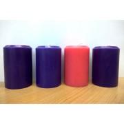 Vela Coroa do Advento - 3 roxa e 1 rosa - 10x7cm - kit com 4 velas